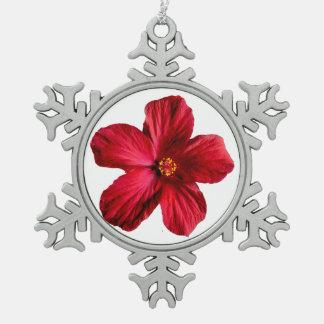 Ornamento rojo del copo de nieve del estaño de la adorno de peltre en forma de copo de nieve