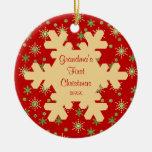 Ornamento rojo del copo de nieve del primer adorno