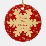 Ornamento rojo del copo de nieve del primer navida ornaments para arbol de navidad