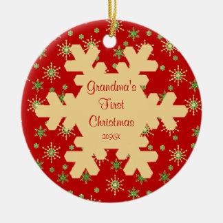 Ornamento rojo del copo de nieve del primer navida adorno