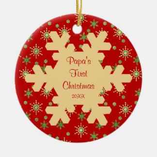 Ornamento rojo del copo de nieve del primer navida ornamente de reyes