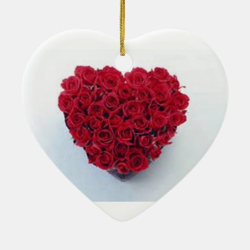Ornamento rojo del corazón adorno navideño de cerámica en forma de corazón