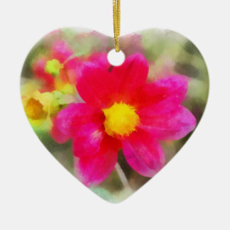 Ornamento rojo del corazón de la flor ornatos