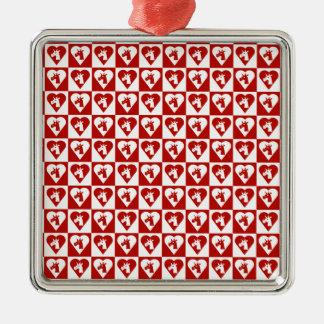 Ornamento rojo del corazón del unicornio adornos
