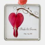 Ornamento rojo del cuadrado del boda del corazón s adorno de reyes
