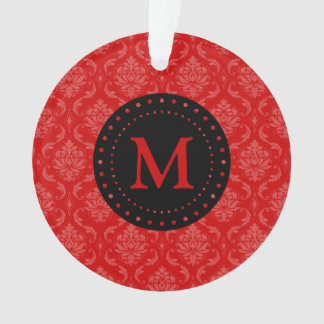 Ornamento rojo del damasco del monograma