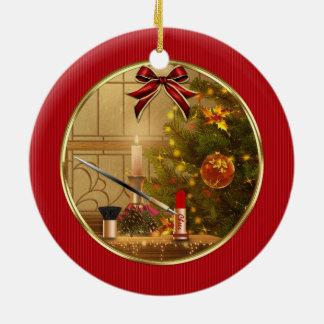 Ornamento rojo del día de fiesta del navidad de adorno navideño redondo de cerámica