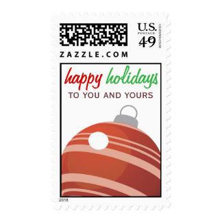 Ornamento rojo del navidad buenas fiestas a usted sellos