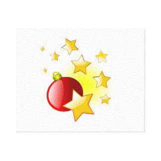 Ornamento rojo del navidad con las estrellas impresion de lienzo