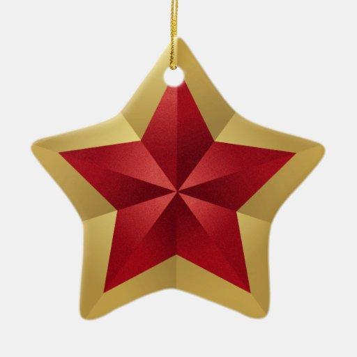 Ornamento rojo del navidad de la estrella del oro adorno navideño de cerámica en forma de estrella
