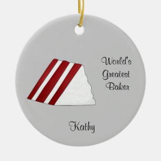 Ornamento rojo del navidad de la torta del adorno redondo de cerámica