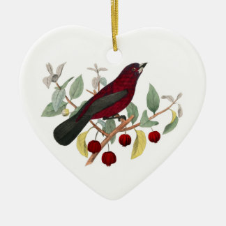 Ornamento rojo del navidad de las bayas del pinzón adorno navideño de cerámica en forma de corazón