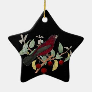 Ornamento rojo del navidad de las bayas del pinzón adorno de cerámica en forma de estrella