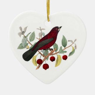 Ornamento rojo del navidad de las bayas del pinzón adorno de cerámica en forma de corazón