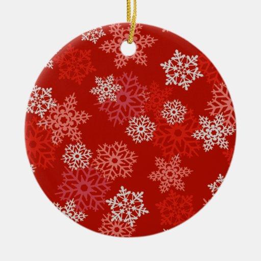 Ornamento rojo del navidad de los copos de nieve adorno navideño redondo de cerámica