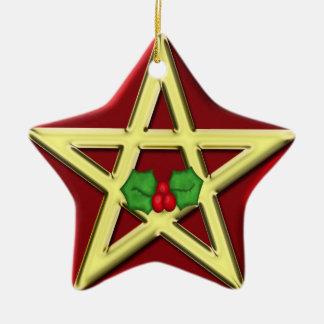 Ornamento rojo del navidad de Yule del Pentagram d Ornamentos De Reyes