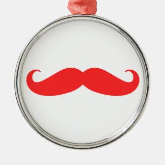 Ornamento rojo del navidad del bigote adorno navideño redondo de metal