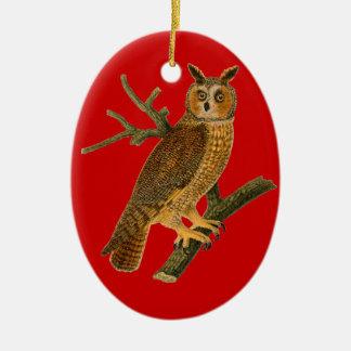 Ornamento rojo del navidad del búho del estilo del adorno ovalado de cerámica