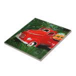 Ornamento rojo del navidad del camión (4) azulejos cerámicos