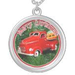 Ornamento rojo del navidad del camión (4) collares