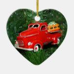 Ornamento rojo del navidad del camión (4) ornamentos de navidad