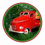 Ornamento rojo del navidad del camión (4) esculturas fotograficas
