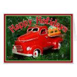 Ornamento rojo del navidad del camión (4) felicitaciones
