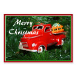 Ornamento rojo del navidad del camión (4) tarjeta de negocio