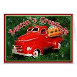 Ornamento rojo del navidad del camión (4) tarjeton