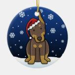 Ornamento rojo del navidad del Doberman del dibujo Adornos