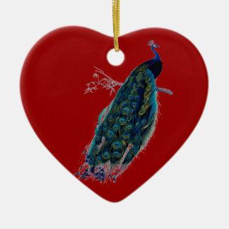 Ornamento rojo del navidad del pavo real del adorno navideño de cerámica en forma de corazón