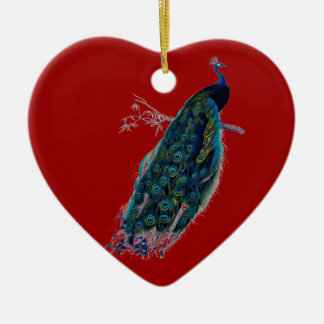 Ornamento rojo del navidad del pavo real del adorno de cerámica en forma de corazón