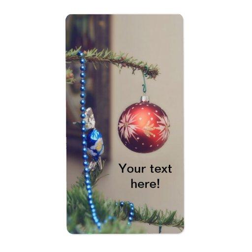 Ornamento rojo del navidad etiquetas de envío