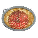 Ornamento rojo del navidad hebilla cinturón oval