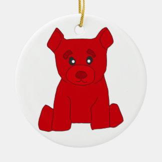 Ornamento rojo del oso adorno navideño redondo de cerámica