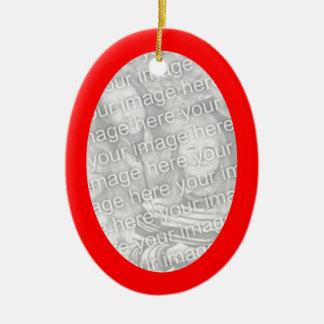 Ornamento rojo del óvalo del marco adorno navideño ovalado de cerámica