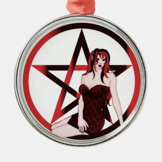 Ornamento rojo del Pagan de la bruja Adorno Navideño Redondo De Metal