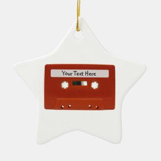 Ornamento rojo del personalizable de la cinta de adornos de navidad