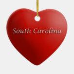 Ornamento rojo del recuerdo del corazón de Carolin Adornos De Navidad