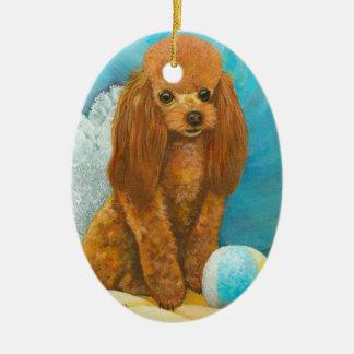 Ornamento rojo del retrato del perrito del caniche ornatos