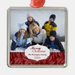 Ornamento rojo elegante de la foto del día de adornos de navidad
