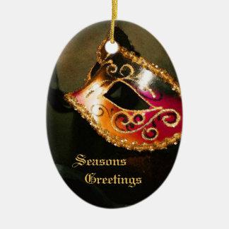 Ornamento rojo elegante del día de fiesta de la adorno navideño ovalado de cerámica