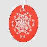 Ornamento rojo festivo del copo de nieve del ángel