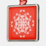 Ornamento rojo festivo del cuadrado del copo de ornamente de reyes