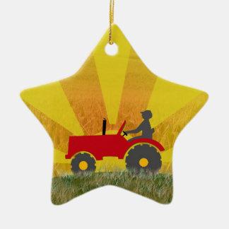 Ornamento rojo o verde del tractor ornamentos de navidad