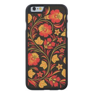 Ornamento rojo y amarillo de las flores funda de iPhone 6 carved® de arce