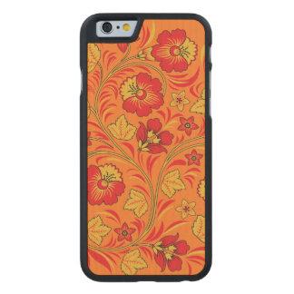 Ornamento rojo y amarillo de las flores funda de iPhone 6 carved® slim de arce