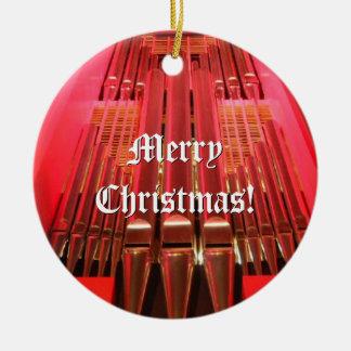 Ornamento rojo y azul del navidad adorno navideño redondo de cerámica