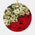 Ornamento rojo y blanco de los Poinsettias 2-Sided Adorno
