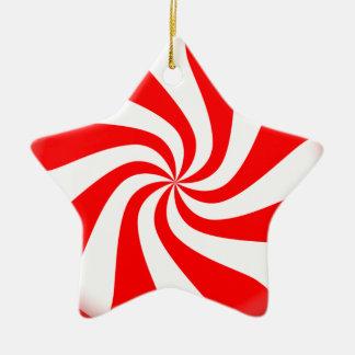 Ornamento rojo y blanco del caramelo de adorno navideño de cerámica en forma de estrella